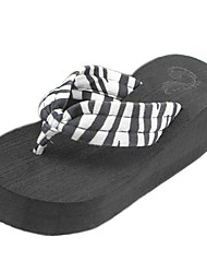 Women's Slippers & Flip-Flops Summer Flip Flops Polyester Casual Wedge Heel Others Black Green