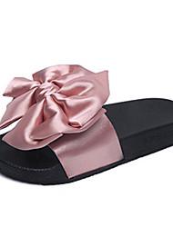 Women's Shoes Satin Big Bowknot Flat Heel Comfort / Round Toe Sandals Dress / Casual Black / Green / Pink