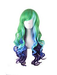 gradiente de color verde mutli de onda de color azul púrpura del color pelucas sintéticas pelucas cosplay de anime lolita harajuku estilo