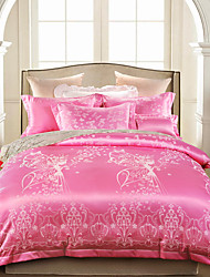 Floral Define capa de edredão 4 Peças Mistura de Seda/Algodão Luxuoso Jacquard Mistura de Seda/Algodão Queen / King4peças (1 edredão, 1