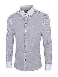 Men's Long Sleeve Shirt,Cotton Casual / Work / Formal Striped