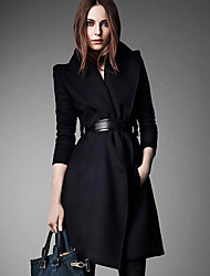 Women's Formal Simple Coat,Solid Shirt Collar Long Sleeve Winter Blue / Black Wool Thick