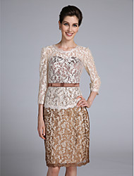Lanting Bride® Sheath / Column Mother of the Bride Dress Knee-length 3/4 Length Sleeve Lace with Sash / Ribbon