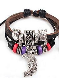 Femme Bracelets de rive Bracelets en cuir Mode Bohême Cuir Forme de Cercle Bijoux Pour Quotidien Décontracté