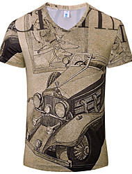 Men's Print Casual T-Shirt,Cotton / Acrylic Short Sleeve-Brown / White / Yellow / Beige / Gray 916241