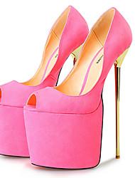 Черный / Розовый / Фиолетовый-Женская обувь-Для праздника / Для вечеринки / ужина-Ткань-На шпильке-На каблуках / С открытым носком / На