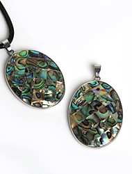 Beadia 32x41mm Oval Shape Natural Mother of Pearl Abalone Shell Pendant (1Pc)
