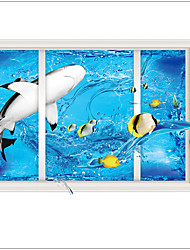 New Design 3 d Wall Stickers The Underwater World Cartoon Decorative Home decal ,PVC Removable Home Decoration