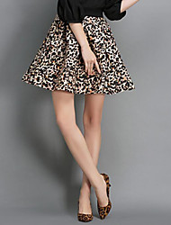 Women's Leopard Gray / Yellow Skirts,Street chic Mini
