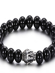Men's Charm Bracelet Bracelet Stainless Steel Glass Vintage Classic Round Black Jewelry 1pc