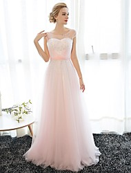 Formal Evening Dress Sheath / Column Scoop Floor-length Chiffon / Tulle with Crystal Detailing