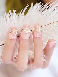 24PCS Fashion Glitter Powder Flower Nail Tips