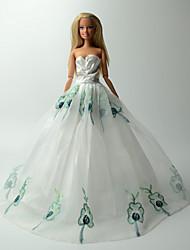 Fiesta y Noche Vestidos por Muñeca Barbie Blanco / Azul Vestidos