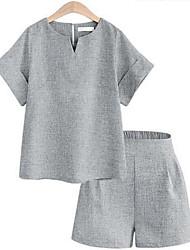 Damen Solide Einfach Lässig/Alltäglich T-shirt,Rundhalsausschnitt Sommer ½ Länge Ärmel Blau / Grau Polyester Undurchsichtig