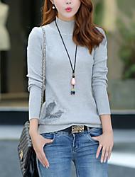 Normal Pullover Femme Décontracté / Quotidien simple,Couleur Pleine Rouge / Noir / Gris Col Roulé Manches Longues Coton Automne Moyen