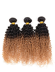 "10""-26"" Ombre Kinky Curly Hair Weave 3 Bundles Human Hair Weft Extensions 95-100G/Bundle 1B/27# 3 Pcs/Lot"