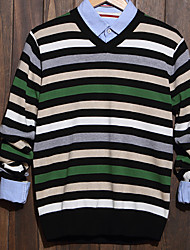 Men's Striped Casual Pullover,Cotton Long Sleeve Green / Yellow