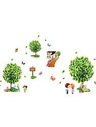 ботанический Наклейки Простые наклейки Декоративные наклейки на стены,PVC материал Влажная чистка / Съемная / Положение регулируется