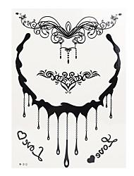 1pc Black Henna Temporary Tattoo Water Drop Necklace Love Woman Body Art Tattoo Sticker BJ009
