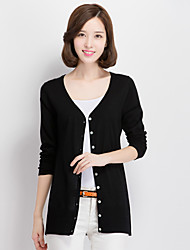 Women's Casual/Daily Simple / Cute Regular Cardigan,Solid Blue / Red / White / Black / Brown / Gray / Green / Purple