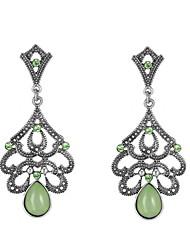 Gemstone Alloy Bohemian Birthstones Geometric Green Jewelry Wedding Party Daily Casual 1 pair