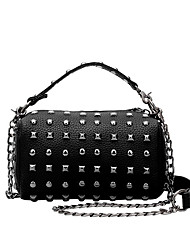 Women  Retro Rivets PU Casual  Shopping Bucket Bags Shoulder Handbag Coin Purse