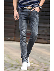 Men's Solid Casual Jeans,Cotton Gray