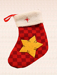 1pc Christmas Tree Decoration Grid Star Sock Pendant New Year Outdoor Party Supplies