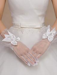 Handgelenk-Länge Fingerspitzen Handschuh Tüll Polyester Brauthandschuhe Party / Abendhandschuhe Frühling Sommer Herbst Winter Schleife