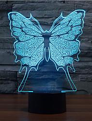 Butterfly Touch escurece 3D conduziu a luz da noite 7colorful decoração atmosfera lâmpada de luz de Natal iluminação novidade