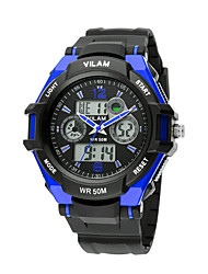 VILAM Sports Watches Digital LED Quartz Dual Display Wristwatches Rubber Strap Relogio