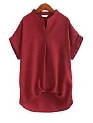 Damen Solide Einfach Lässig/Alltäglich T-shirt,Ständer Sommer Kurzarm Blau / Rosa / Rot / Weiß Leinen Undurchsichtig