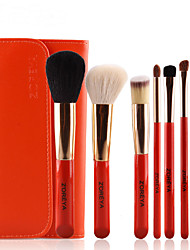 8Pcs Orange Wool Makeup Brushes Set