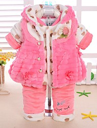 Baby Casual/Daily Solid Clothing Set-Cotton-Winter-Pink / Red / Yellow Set