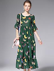 AFOLD® Women's Round Neck 1/2 Length Sleeve Tea-length Dress-6009