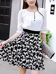 Mujer Negro y Blanco Vestido Casual/Diario / Tallas Grandes Simple / Bonito,Bloques Escote Redondo Sobre la rodilla 1/2 Manga Blanco