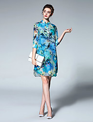 Boutique S Going out Vintage / Chinoiserie Sheath DressFloral Stand Knee-length  Length Sleeve Blue Linen