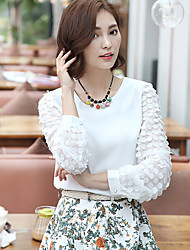 Women's Casual/Daily Simple Spring Blouse,Solid Round Neck Long Sleeve White Polyester Medium