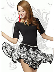 Belly Dance Outfits Women's Training Polyester Pleated 2 Pieces Black Belly Dance Half Sleeve Natural Top / Skirt
