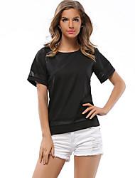 Damen Patchwork Einfach / Street Schick Lässig/Alltäglich T-shirt,Rundhalsausschnitt Sommer Kurzarm Weiß / Schwarz Polyester Dünn