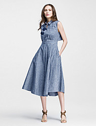 Boutique S Going out / Simple / Street chic Sheath Dress,Striped Shirt Collar Midi Sleeveless BlueCotton