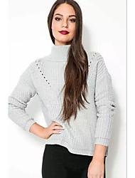 Normal Pullover Femme Décontracté / Quotidien Chic de Rue,Couleur Pleine Gris Col Roulé Manches Longues Polyester Hiver Fin