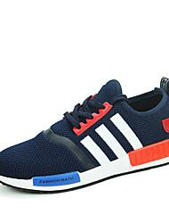 Da uomo-Sneakers-Casual-Comoda-Piatto-Tulle-Nero Blu