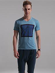 M. D® Hommes Col en V Manche Courtes T-shirt Bleu / Champagne / Gris foncé-10
