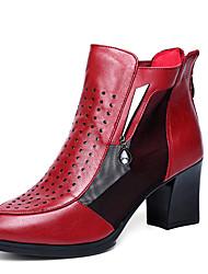 Черный / Бордовый-Женский-Для офиса / Для праздника-Кожа-На толстом каблуке-На каблуках-Обувь на каблуках