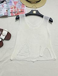 Women's Casual/Daily Simple Short Vest,Solid V Neck Sleeveless Polyester Summer Medium