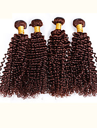 4pcs Brazilian Kinky Curl Hair Bundles Weaves Chocolate Brown 100% Unprocessed Brazilian Human Hair Weft