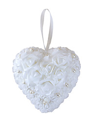 Pure White Rose Flower with Crystal Pearl Decoration Hanging Ring Pillow for Wedding Party(21*21cm)