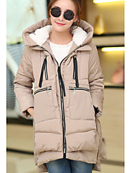 Long Padded Coat,Simple / Cute Solid-Polyester Without Filling Material Long Sleeve Hooded Red / Black / Green / Multi-color