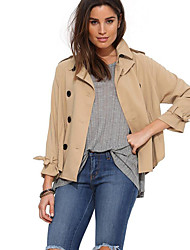 Women's Casual/Daily Simple Spring / Fall Jackets,Solid Shirt Collar Long Sleeve Yellow Polyester Medium